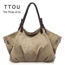 Kadın moda kanvas çanta Retro büyük kapasiteli kadın omuz çantaları şık rahat Crossbody çanta klasik katı kılıf TTOU