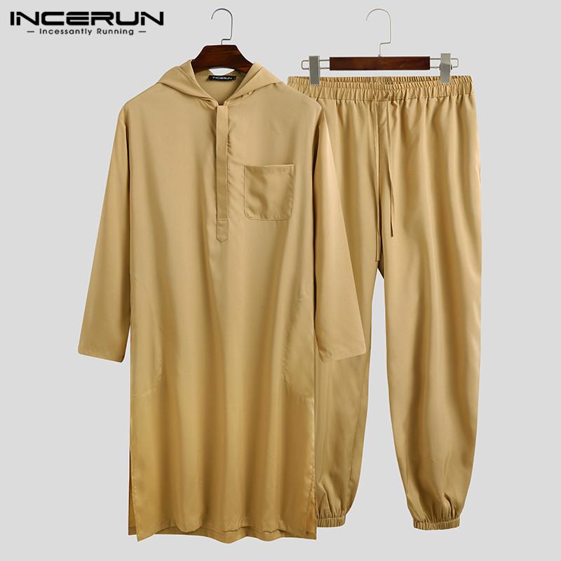 Men Muslim Sets Long Sleeve Hooded Kaftan Drawstring Pants 2 Pieces Solid Color Dubai Casual Islamic Arabic Mens Suits INCERUN