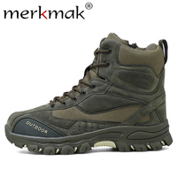 Merkmak 2019 New Winter Men Boots Ankle Rubber Military Combat Boots Men Sneakers Casual Shoes Outdoor Work Safety Boots Man