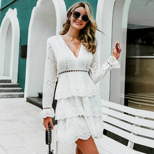 Hollow out cotton embroidery ruffled women dress A-line v-neck long sleeve female sexy dress Elegant party midi dress цена и фото