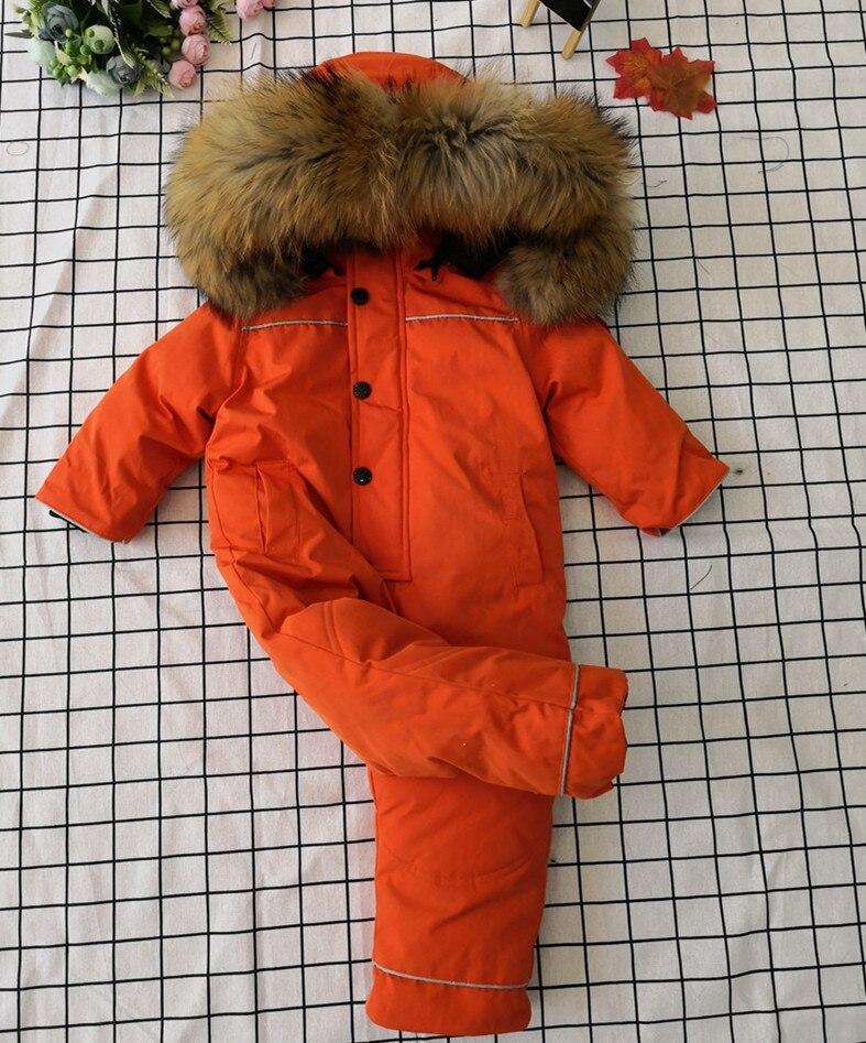 Bébé mère 2019 hiver réel fourrure de raton laveur à capuche neige porter des vêtements de dessus chauds vêtements de ski