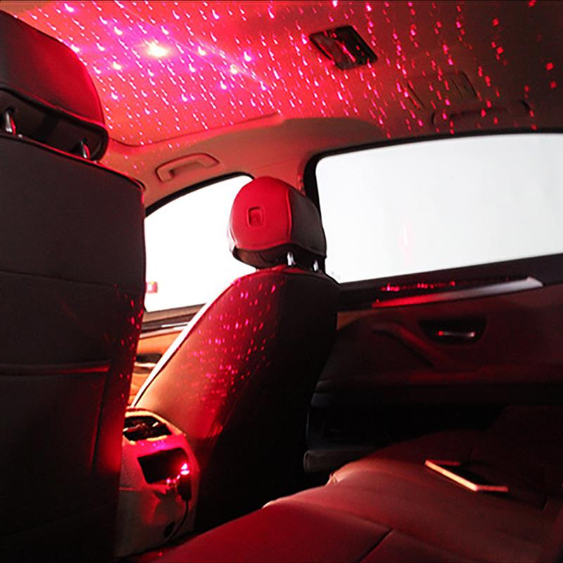 Onever Mini LED Car Roof Star Night Lights Projector Light USB Plug Ambient Atmosphere Galaxy Lamp Decoration Light Pink Black