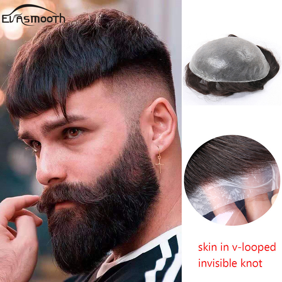 Natural Human Men Wig V-looped Thin Skin Men Toupee Indian Remy Human Hair Wig Toupee Hair Replacement System Prosthetic Hair