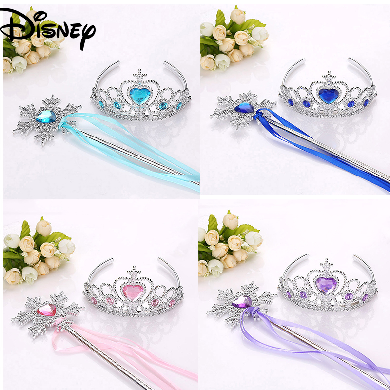 Frozen 2 Crown + Magic Stick Make Up Toys For Girls Disney Princess Hairband Frozen Crown Cosplay Birthday Party Accessories