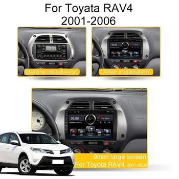 For Toyota RAV4 Car Radio Multimedia Video Player Navigation GPS Android 9.1 2DIN years 2001 2002 2003 2004 2005 2006 image