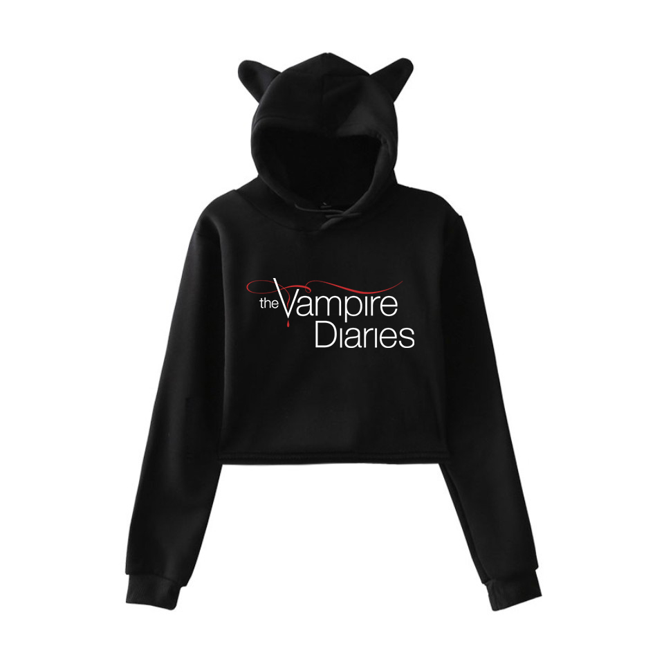 Crop Top Hoodies The Vampire Diaries Sweatshirt Womens Hoodie Pink Pullover Clothes For Girls Streetwear Spring Long Sleeve Tops