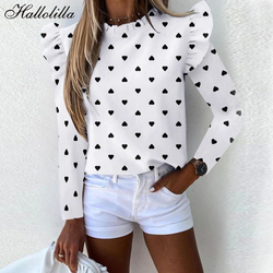 Printing Blouse Shirt Ruffles Casual Blouse Women Long Sleeve Spring Autumn O-Neck New Fashion Woman Blouses Ladies Top Female
