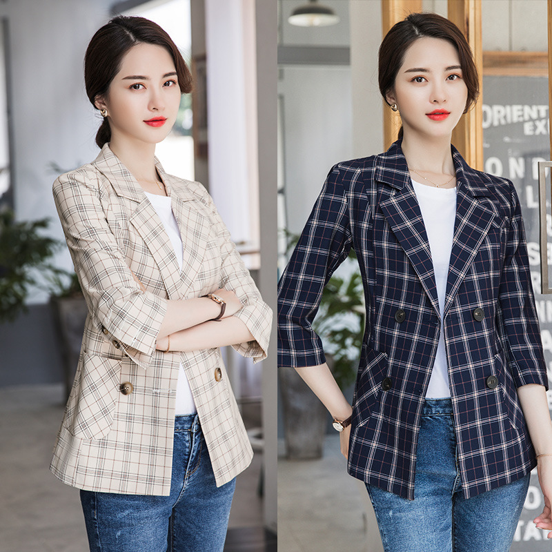 2019 New Spring And Autumn Office Casual Ladies Jacket Suit Trendy Slim Half Sleeve Women's Plaid Blazer Business Jacket