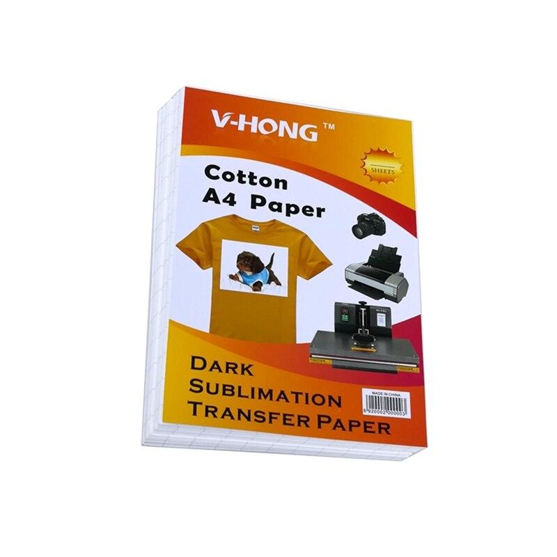 Koyu demir transferleri A4 boyutu süblimasyon kağıdı mürekkep püskürtmeli yazıcı 8.26x11.7 inç T-shirt ısı transfer kağıdı
