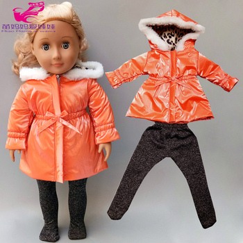 18 inch Doll clothes Set Long trench coat leggings baby Doll Winter Coat Clothes for 18
