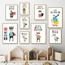 Super Hero Lion Cat Sheep Bear Zebra Cartoon Wall Art Canvas Painting Nordic Posters And Prints Pictures For Kid Room Boy