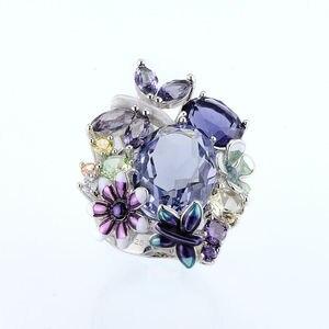 Модные дизайнерские Элегантные кольца с бабочками и цветами для женщин, ручная работа, эмаль, кристалл, роскошные свадебные кольца для банк...