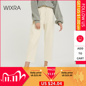 Image 1 - Wixra 2019 New Stylish Solid Casual Womens Pants High Waist Pockets Long Trousers Spring Autumn Ladies Jeans Bottom