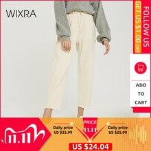 Wixra 2019 جديد أنيق الصلبة بنطلون نسائي غير رسمي عالية الخصر جيوب طويلة بنطلون ربيع الخريف السيدات الجينز القاع