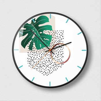New Wall Clocks 3D INS Green Plant Wall Clock Nordic Minimalist Wall Clock Large Size Silent Movement Clocks For Living Room