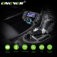 Onever QC3.0 Support Siri FM Transmitter Bluetooth FM Modulator 2 Port Quick Charge Charger Handsfree Car Kit 1.65'' MP3 Player