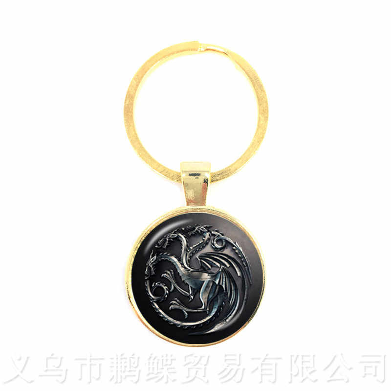 Song of Ice and Fire Game of Thrones House Stark Wolf Keychains Cabochon Time Pendant Keyring Men Women