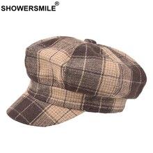 SHOWERSMILE Wool Hat Women Winter Yellow Plaid Newsboy Cap British Style Female Flat Black Beret Woolen Octagonal