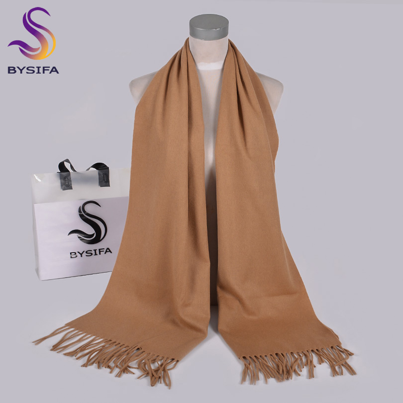 [BYSIFA] Ladies Wool Scarves Shawls New Solid Long Neck Scarf Wrap 100% Pure Wool Women Camel Cashmere Scarves Pashmina 200*50cm