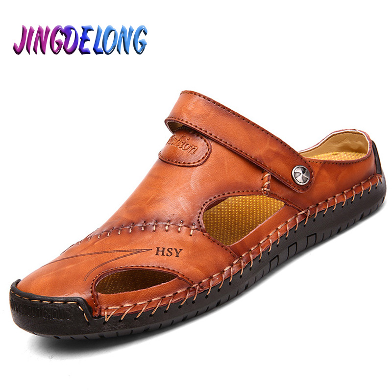 Classic Mens Sandals Summer Genuine Leather Male Beach Sandals Soft Comfortable Male Outdoor Beach Slippers Slip-ON Man Sandals