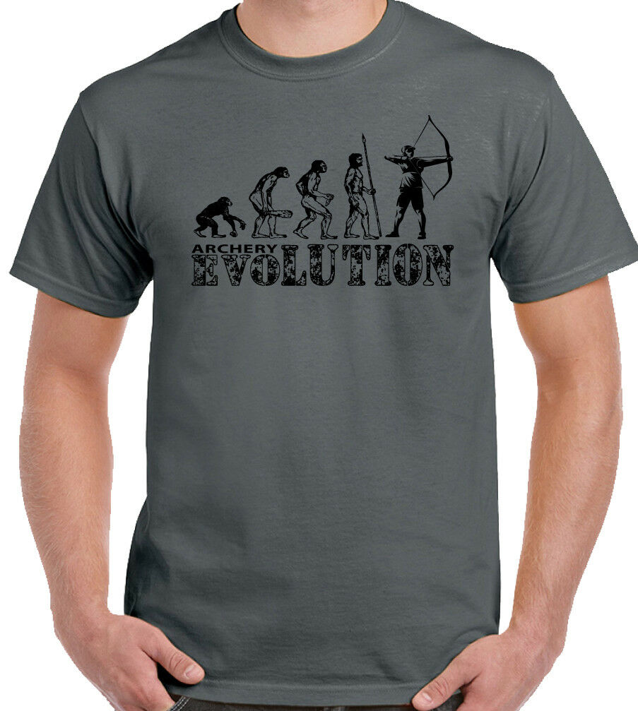 Archery Evolution Mens Funny Archer's T-Shirt Long Bow Arrows Target Equipment