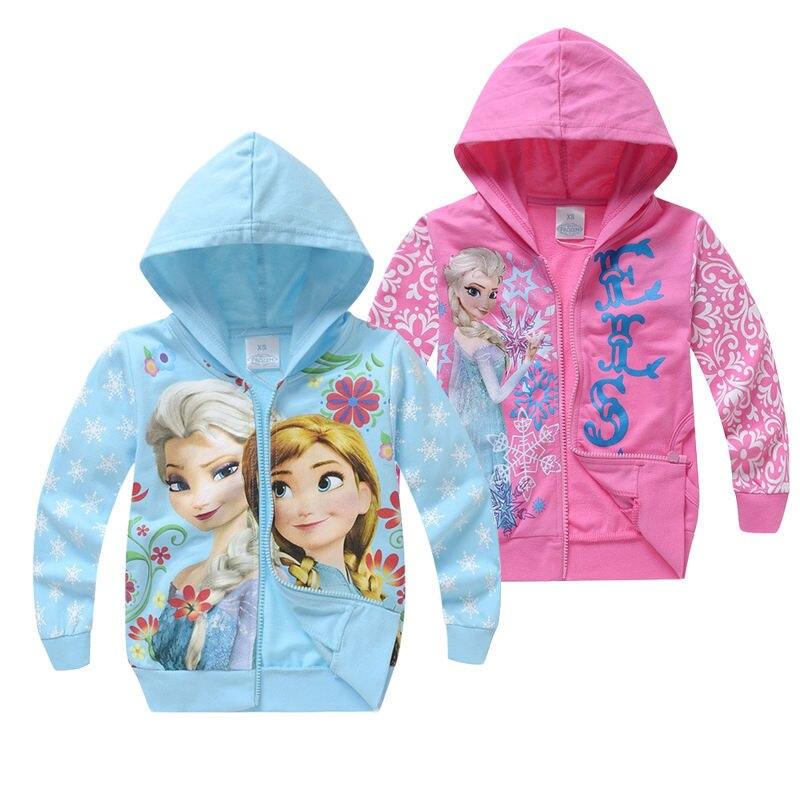 Милые толстовки для девочек, Детский свитшот с мультяшным принтом «Холодное сердце», Анна, Эльза, принцесса, Детская куртка на молнии, детск...