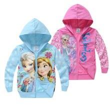 Meninas bonitos hoodies dos desenhos animados congelados anna elsa princesa flor impresso moletom do bebê com zíper jaqueta crianças roupas menina casaco