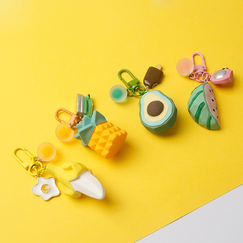 Watermelon Banana Avocado Pineapple Keychain Keyring For Women Jewelry Simulated Fruit Cute Car Key Holder Keyring