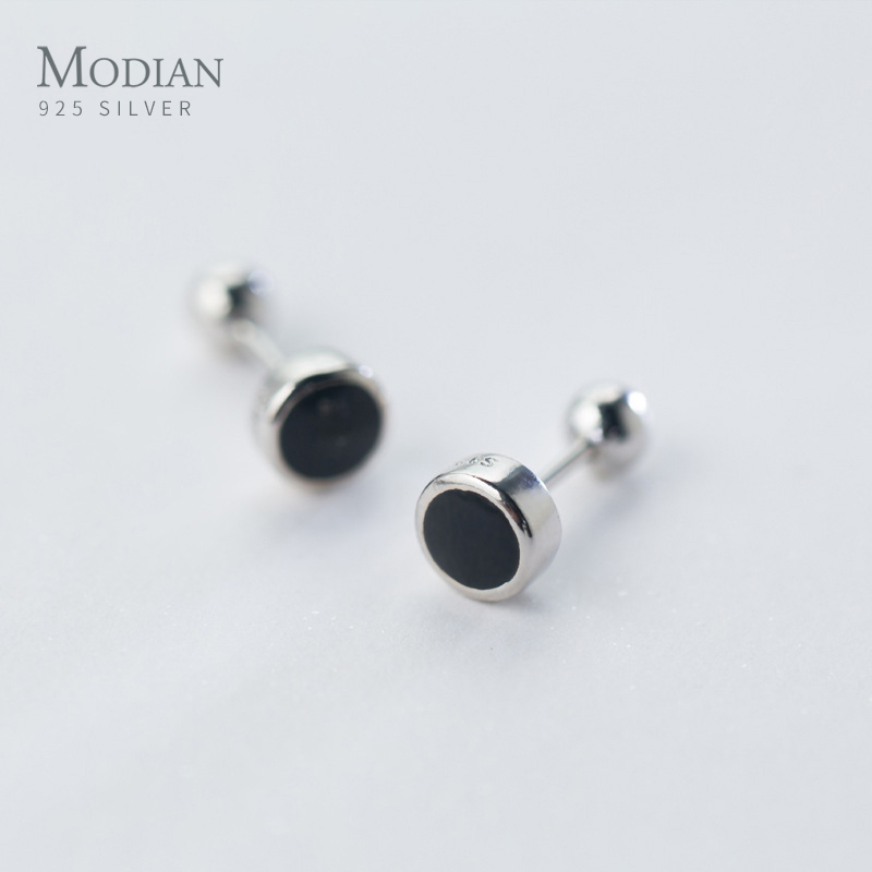 Modian Simple Round Enamel Rock Charm Stud Earrings For Women 925 Sterling Silver Small Prevent Allergy Female Accessories