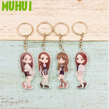 Free shipping BLACKPINK JISOO JENNIE LISA Q Style Figure Key Chain Women Bag Key Ring Pendant Keychain Gift B113
