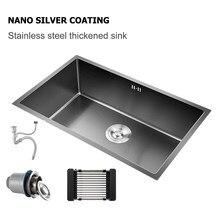 Preto pias de cozinha sob a montagem nano pia 304 de aço inoxidável única bacia vegetais lavadoras pia soldagem sem emenda
