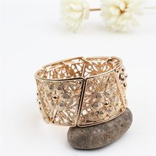 Carved hollow elastic bracelet elegant versatile fashion wide bracelet(China)