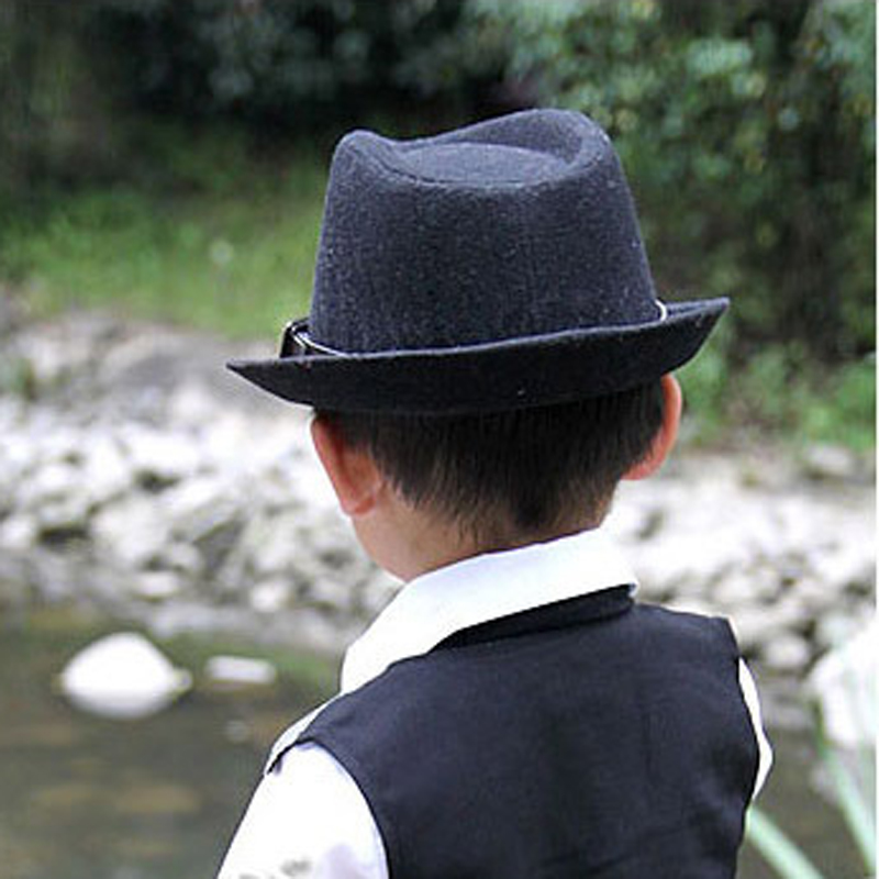 Fashion Cute Kid Children Gentleman Woolen Hat Cap Headwear Grey/Black AIC88 title=