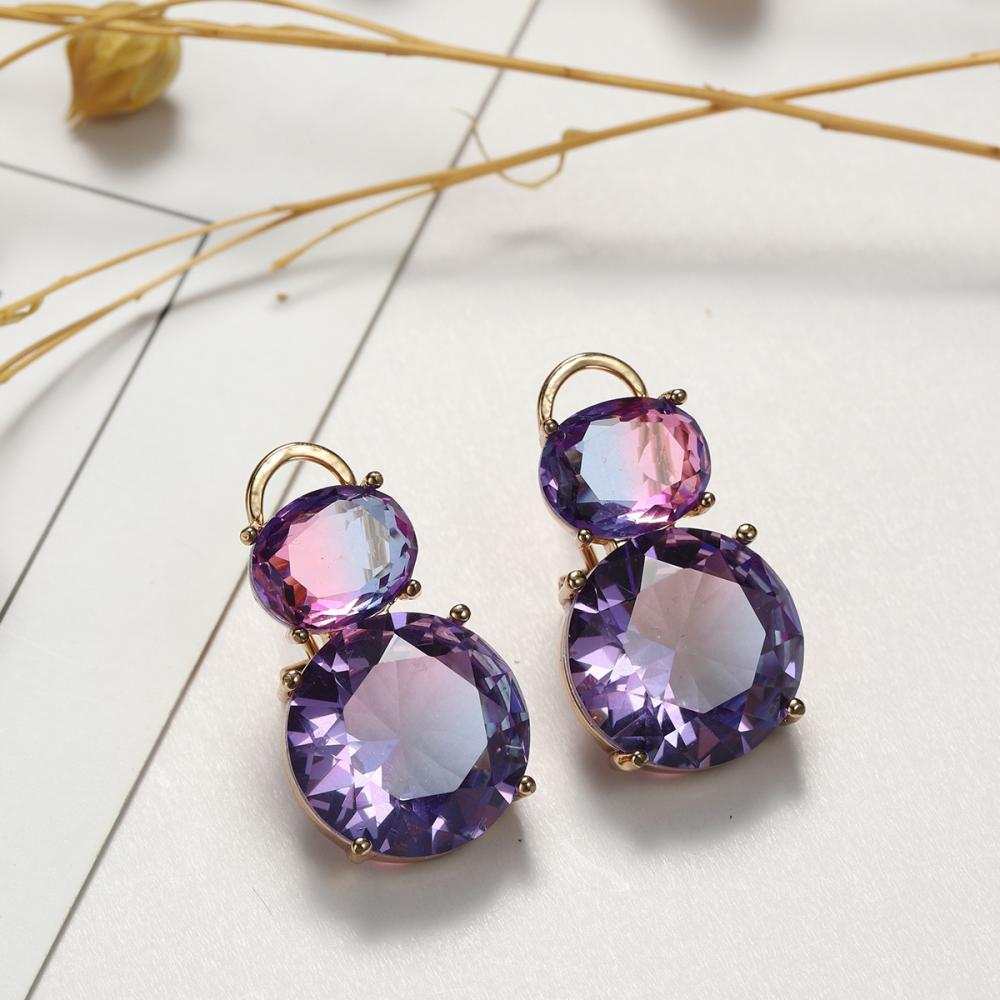 One Big and One Small Two Round Crystal Pendant Earrings Women's Earrings New Fashion Metal Earrings Accessories Party Jewelry