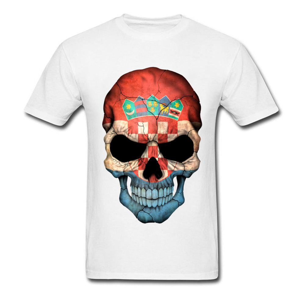 Croatian Country Flag Skull Mens 3D Print T-Shirts Boys T-Shirt Big Size XXL Funny Design Dress Own T Shirt