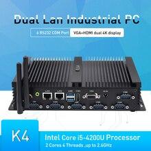 Endüstriyel Mini PC Windows 10 i5 4200U 2 çekirdek 4 konu 2.6GHz ITX alüminyum sağlam fansız bilgisayar 6 COM 2 LAN mini pc