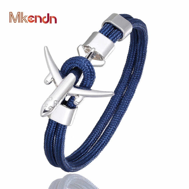 MKENDN Anchor Bracelets Men Women Charm Survival Rope Chain Paracord Bracelet Metal Airplane Hooks Summer Style homme jewelry