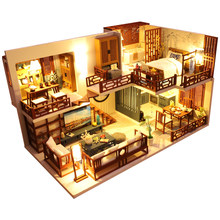 2021 DIY DollHouse Wooden Doll Houses Miniature Dollhouse Furniture Kit Toys for Children New Year Christmas Gift Casa