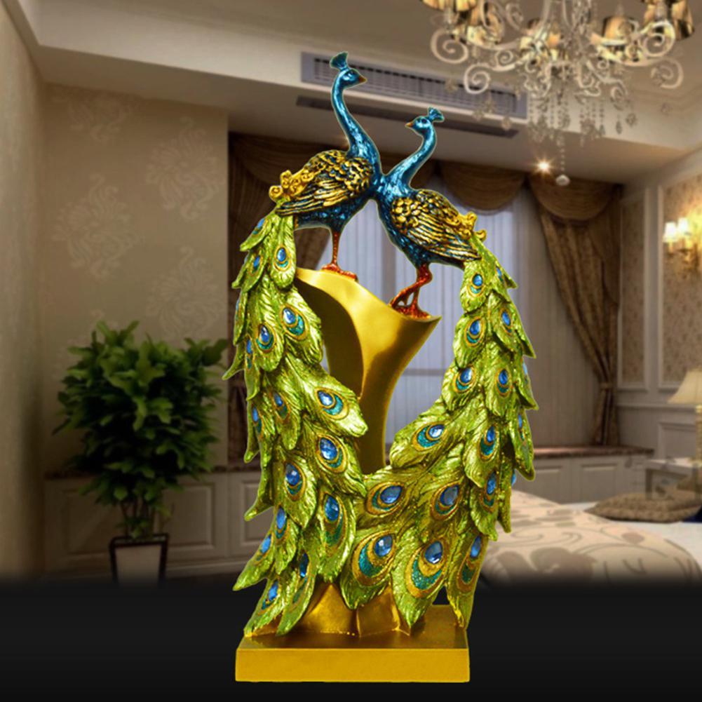 Ev ve Bahçe'ten Statü ve Heykelleri'de GloryStar Avrupa Tarzı Çift Tavuskuşu Yaratıcı Ev Dekor Heykeli Dekorasyon Reçine El Sanatları Modern Oturma Odası Süsler title=