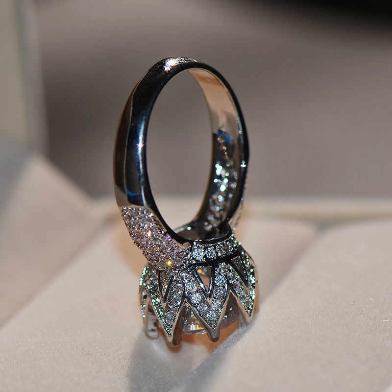 Luxo Fêmea Grande Anel De Pedra De Cristal Grande Rainha Coroa de Prata Anel Wedding Bands Promise Amor Anéis de Noivado Para As Mulheres Do Vintage