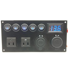 LED Marine Boot Switch Panel 12V 24V 5 Gang Auf-Off Toggle Panel USB Ladegerät Buchse Voltmeter UNS Plug Power Outlet(China)