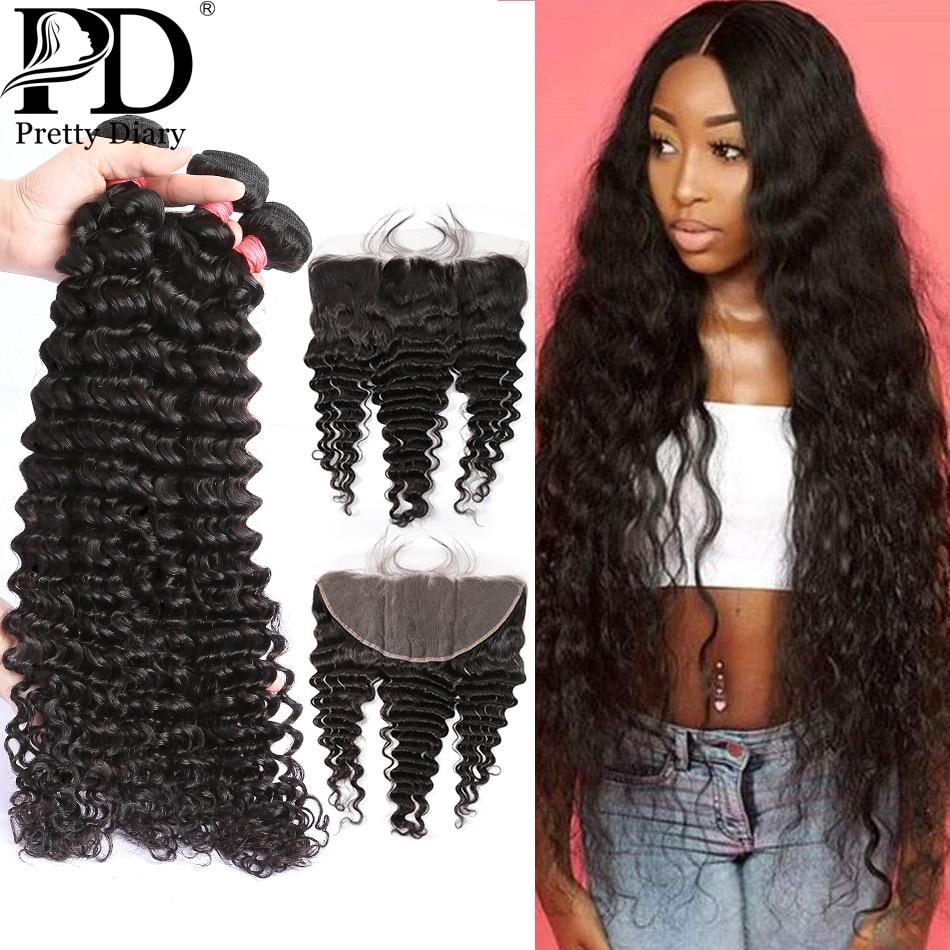 28 30 Polegada onda profunda cabelo brasileiro tecer pacotes de extensão do cabelo humano 3 4 pacotes com rendas frontal fechamento onda água pacotes