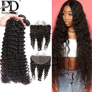 28 30 Inch Deep Wave Brazilian Hair Weave Bundles Human Hair Extension 3 4 Bundles With Lace Frontal Closure Water Wave Bundles