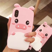 Cute 3D INS Cartoon Anime pink pig cover case for x