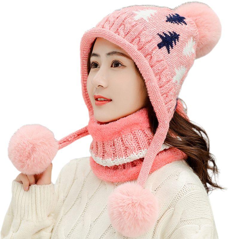 THINKTHENDO Women Tree Cable Knit Pompom Beanie Earflap Hat Plush Lined Infinity Scarf Set