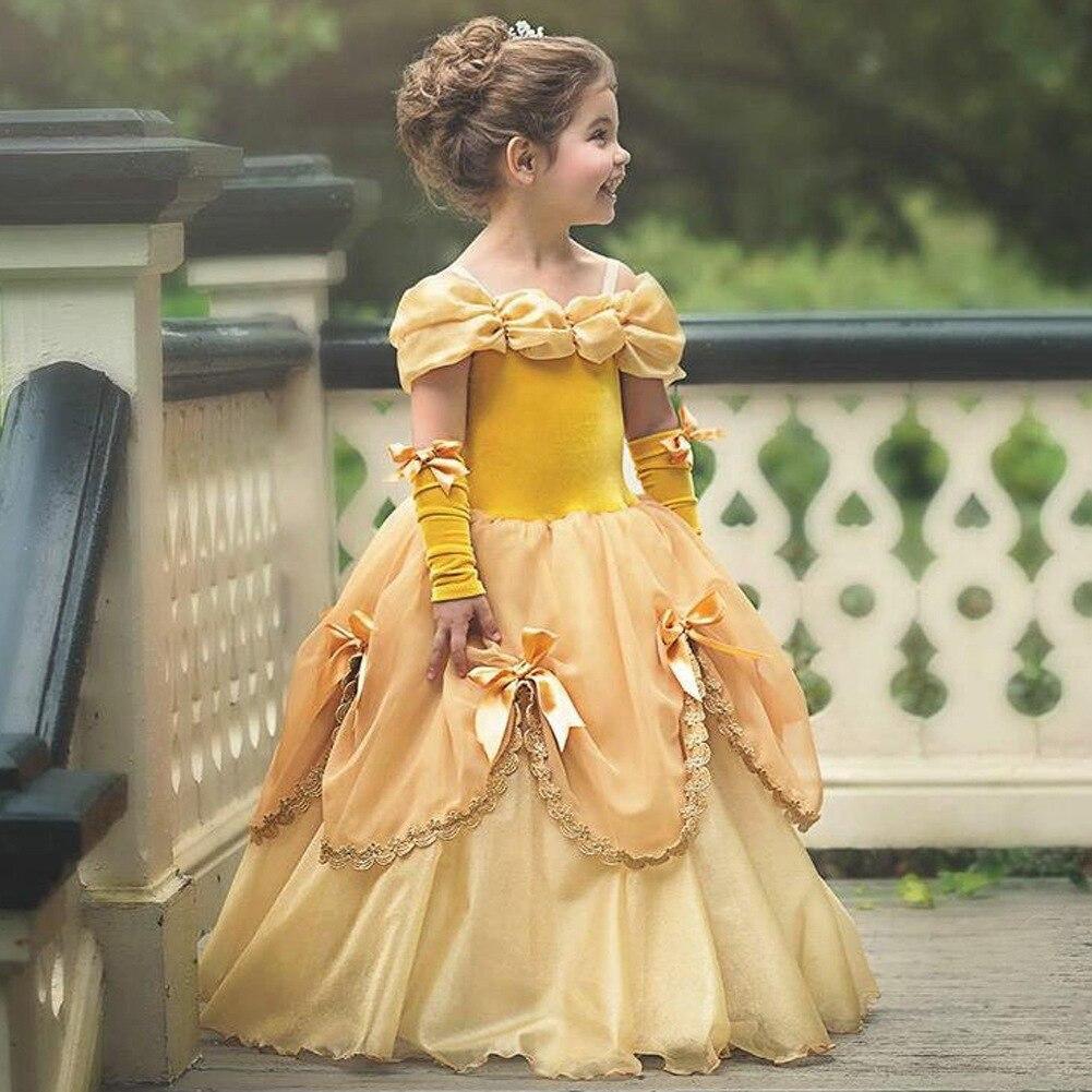 Princess Costume Little Girls Cosplay Dress Children's Disfraz Robe Kids Halloween Clothes 1