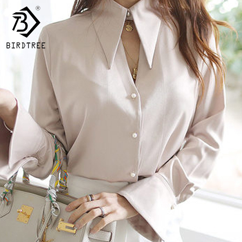 Spring  Women Chiffon  V Neck Long Sleeve Office Career Shirts Tops Fashion Casual Trumpet Sleeve Blouses T9D204M