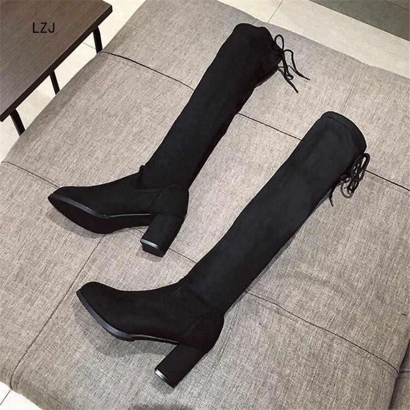 LZJ Yeni 2019 Ince Çizmeler Seksi Diz Üzerinde Yüksek Süet Kadın Kar Botları kadın Moda Kış Uyluk Yüksek çizmeler Ayakkabı Kadın 35-40