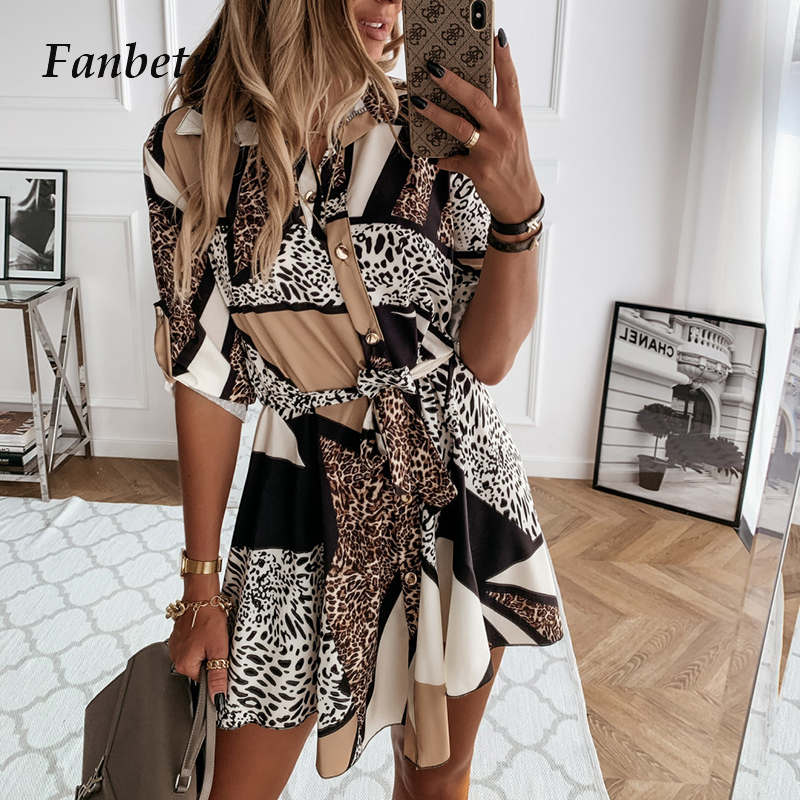 Damen Drehen-unten Kragen Taste Hemd Kleid Patchwork Drei Viertel Sleeve Mini Kleid Casual Leopard Druck Party Kleid Vestidos