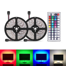 2pcs 5m 5050 SMD RGB Strip Lights 300 LED TV Laptop Screen Decoration Lamp Tape Background Lighting with IR Remote Control(China)